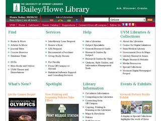University of Vermont, Bailey/Howe Library, Special Collections